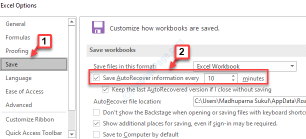 Excel Options Save Save Autorecover Information Every Check