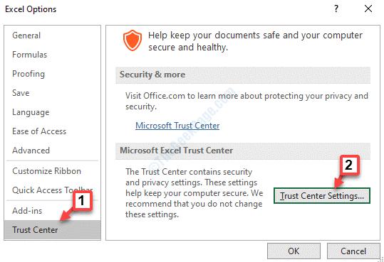 Excel Options Trust Center Trust Center Settings