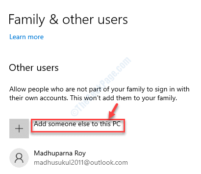 Family & Other Users Other Users Add Someone Else To This Pc