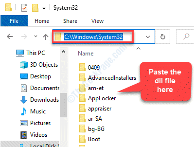 File Explorer Navigate To System32 Folder Paste The Dll File