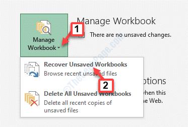 File Menu Info Manage Workbook Recover Unsaved Workbooks