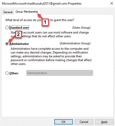 Microsoft Account Properties Group Membership Apply Ok