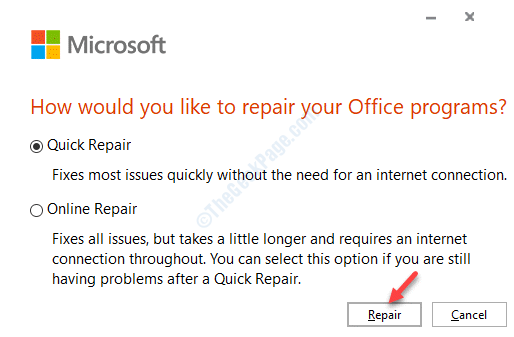 Microsoft Quick Repair Repair