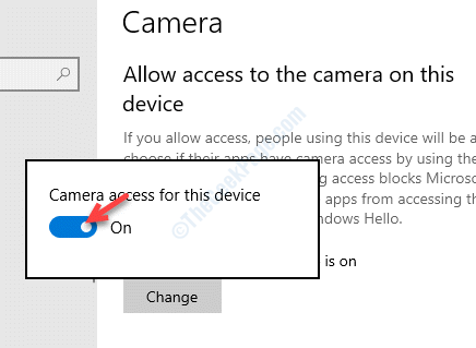 Pop Up Camera Access For This Device Turn On
