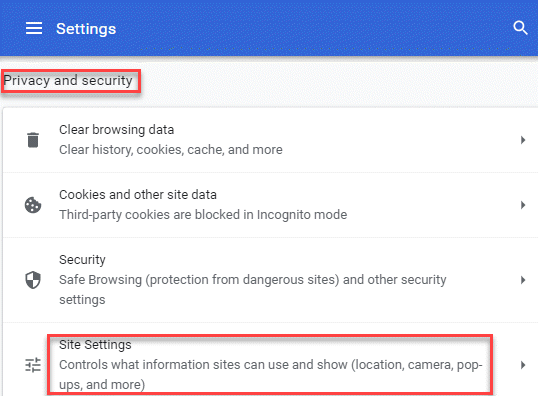 Privacy And Security Site Settings