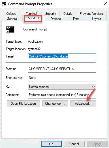 Program Properties Shortcut Advanced