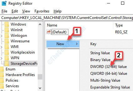Registry Editor Storagedevicepolicies Right Side Right Click New Dword (32 Bit) Value