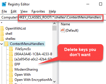 Registry Editor Navigate To Path Contextmenuhandlers Delete Keys