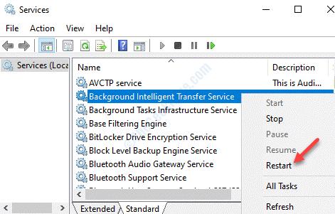 Services Names Background Intelligence Transfer Service Right Click Restart