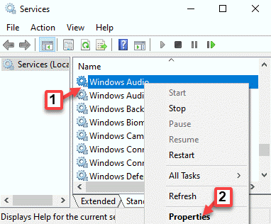Services Names Windows Audio Right Click Properties