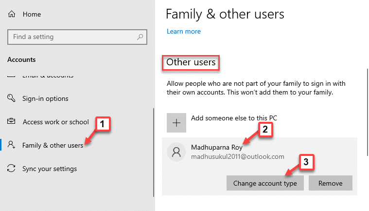 Settings Family & Other Users Other Users New User Account Change Account Type