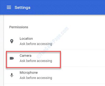 Settings Permissions Camera