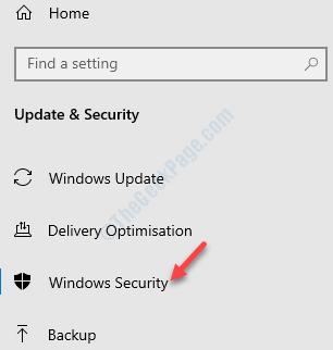 Settings Update & Secuirty Windows Security