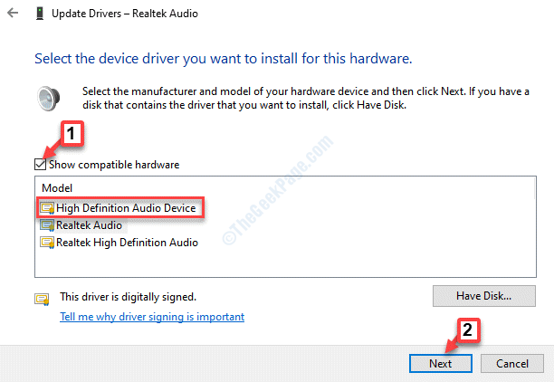 Show Compatible Hardware Check High Definition Audio Device Next