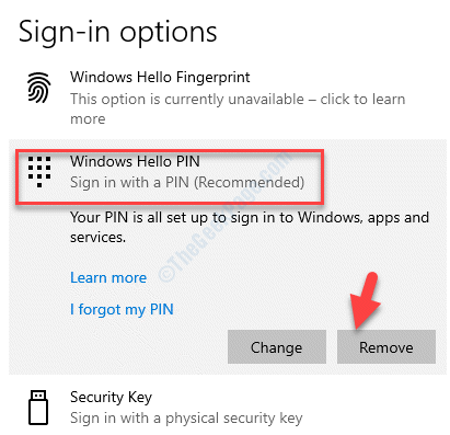 Sign In Options Windows Hello Pin Remove