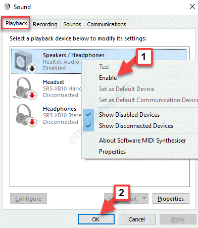 Sound Playback Device Right Click Enable Ok