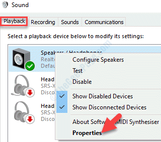 Sound Playback Sound Device Right Click Properties