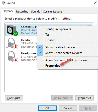 Sound Control Panel Playback Tab Default Speaker Right Click Properties