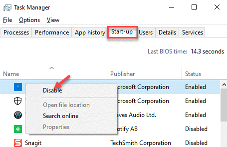 Task Manager Startup Tab Right Click On Each App Disable