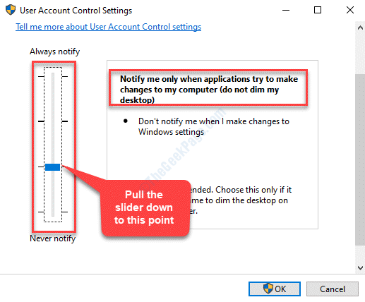 User Account Control Settings Pull Slider Down Ok