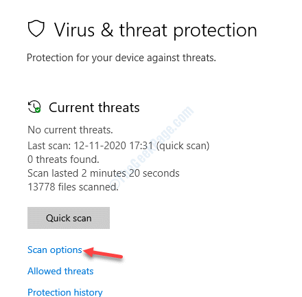 Virus & Threat Protection Scan Options
