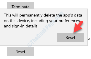 Warning Pop Up Reset To Confirm