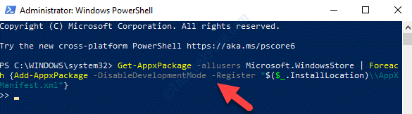 Windows Powershell (admin) Run Command To Reinstall Windows Store Enter