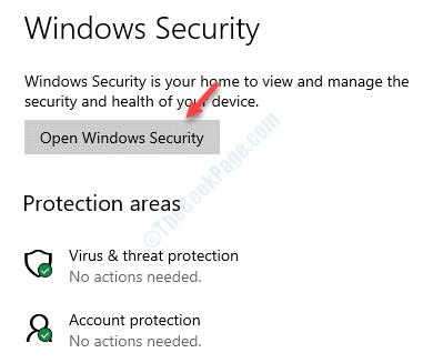 Windows Security Open Windows Security