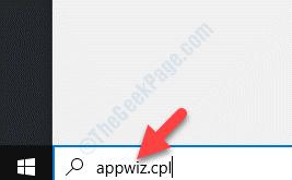 Windows Search Bar Appwiz.cpl Search