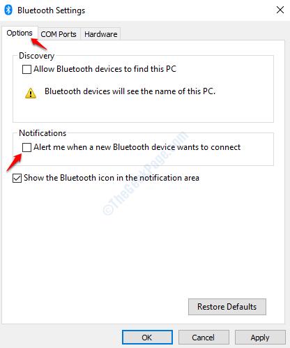 Bluetooth Disable Alert