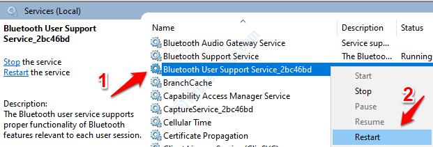 Bluetooth Service Restart