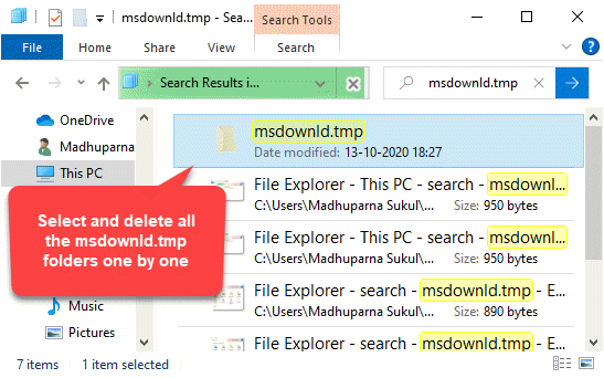 Msdownld.tmp Select And Delete All Folders One By One