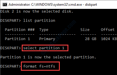 Select Partition 1 Format