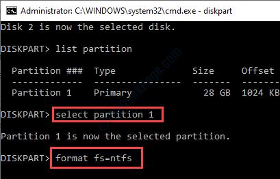 Select Partition 1 Format