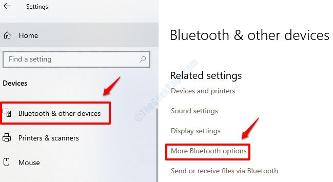 Settings More Bluetooth Options