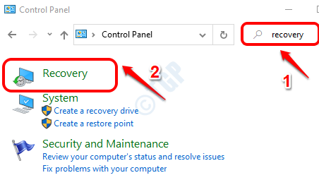 1 Control Panel Recovery