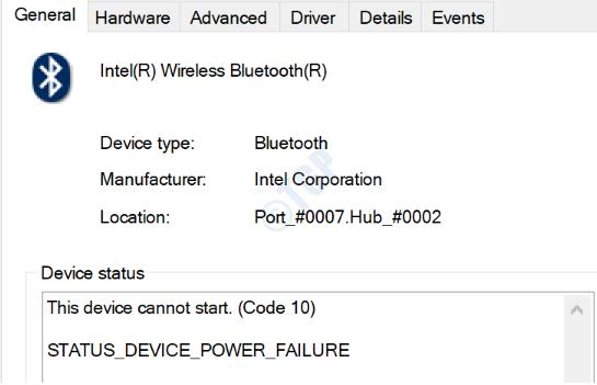 1 Status Device Power Failure