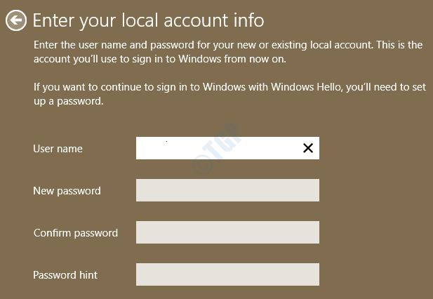10 Enter Local Account Details