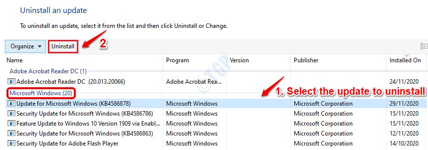 10 Select Update Uninstall