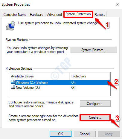 11 System Protection Create Restore