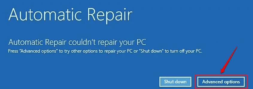 2 Startup Repair Advanced Options Button