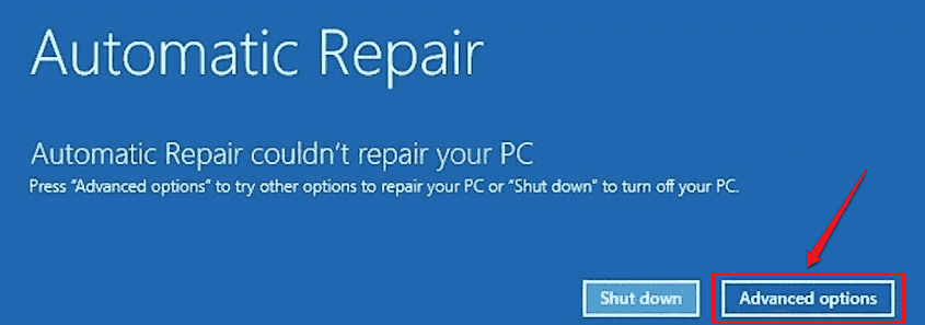 2 Startup Repair Advanced Options Button