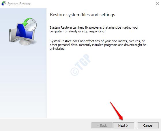 3 System Restore Window