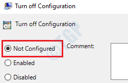 3 Turn Off Configuration Not Configured