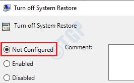 5 Turn Off System Restore Not Configured