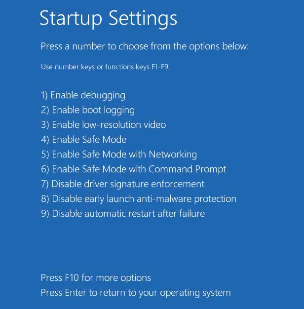 7 Startup Settings Options Safe Mode 1234 Startup Repair
