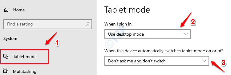 8 Tablet Mode Settings