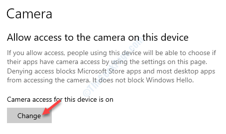 Allow Access To The Camera On This Device Change