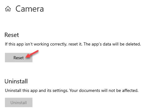 Camera Advanced Options Reset