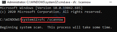 Command Prompt (admin) Run Command Sfc Scannow Enter